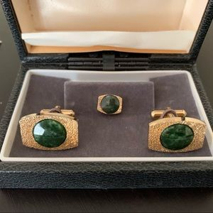 Vintage Gold & Green Marble Cufflinks & Tie Tack